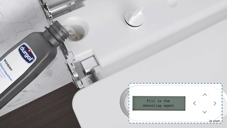 Použitie odvápňovacej tekutiny na odvápnenie sprchovacieho WC