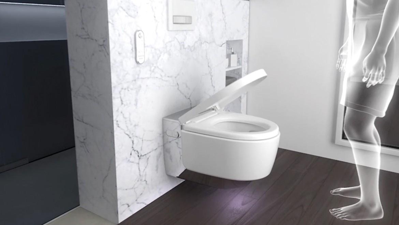 Activated proximity sensor on the Geberit AquaClean Mera shower toilet