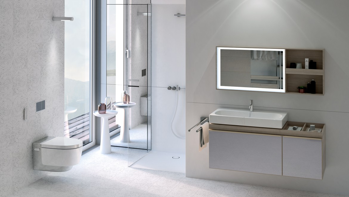 Geberit AquaClean Mera chrome plated in bathroom