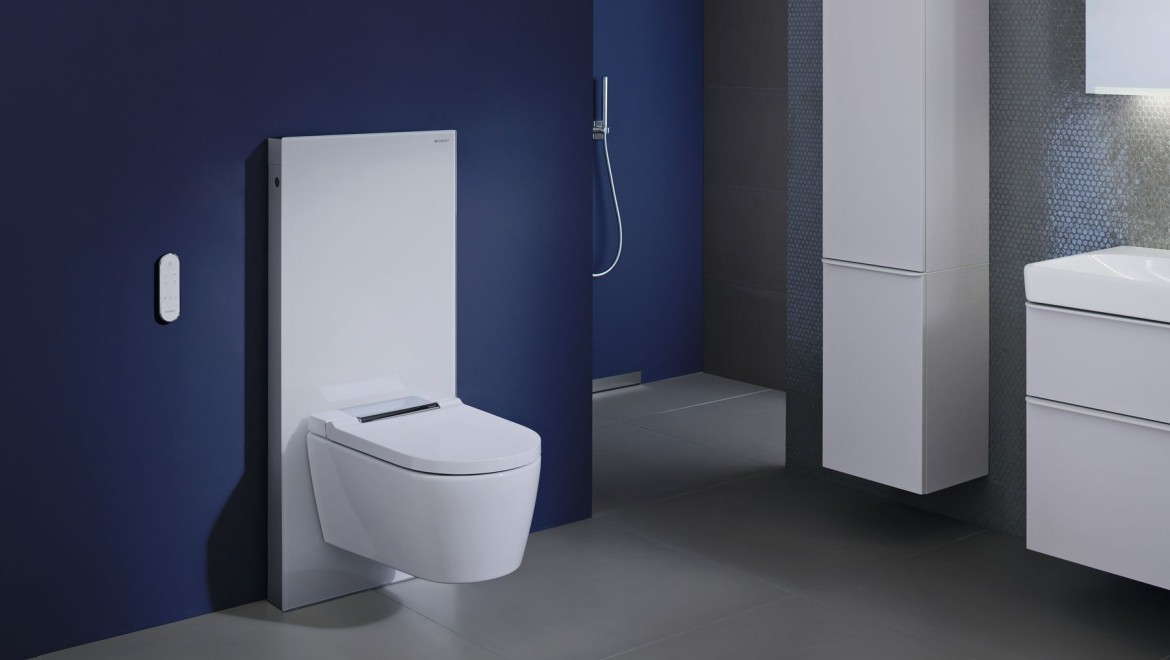 Geberit AquaClean Sela shower toilet with Geberit Monolith in a blue bathroom
