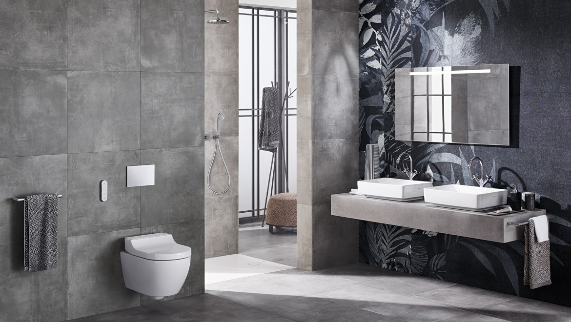 Geberit AquaClean Tuma Comfort & variform washbasin in bathroom