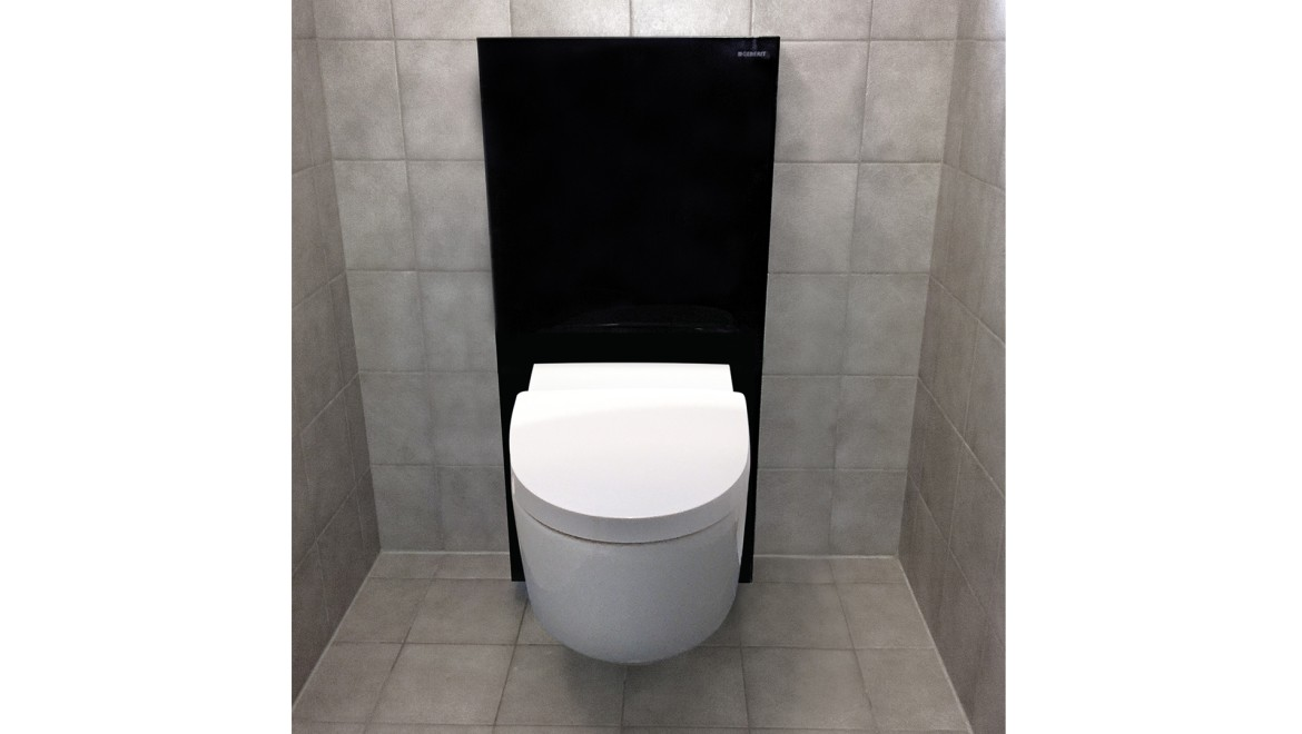 Bathroom after renovation with Geberit AquaClean shower toilet and Geberit Monolith